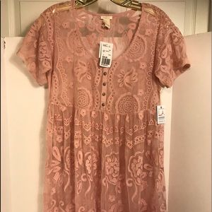 Forever 21 pink lace sheer dress size s